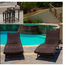 Aaron 5-Piece Outdoor Adjustable Lounge and Wicker Nesting Table Set