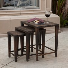 Lionel 3-Piece Wicker Nesting Table Set
