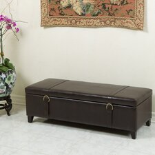 Stanford Leather Storage Ottoman with Straps