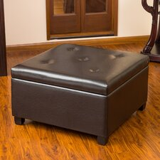 Stephon Tufted Leather Storage Ottoman