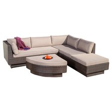Malakia 4 Piece Deep Seating Group with Beige Cushions
