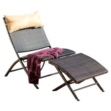 Terrace Outdoor Wicker Lounge Chair and Ottoman Set with Pillow