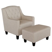 Benez Club Arm Chair & Ottoman Set