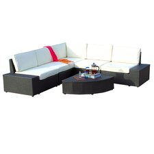 Werder 6 Piece Deep Seating Group in Grey with White Cushions