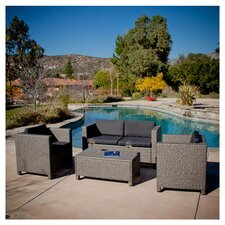 Tauton 4 Piece Deep Seating Group in Tan with Black Cushions