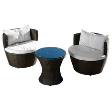 Cozenza 3 Piece Seating Group in Brown with Cushions