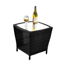 Woodland Outdoor Wicker Side Table with Glass Top