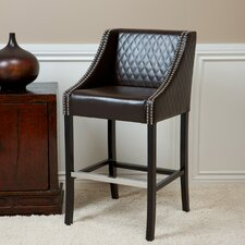 Milano Bonded Leather Quilted Barstool in Brown