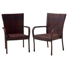 <strong>Home Loft Concept</strong> Outdoor Wicker Chair in Multi-Color Brown (Set of 2)