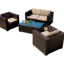 <strong>Home Loft Concept</strong> Murano 4 Piece Deep Seating Group with Cushions