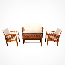 Virginia 4pc Outdoor Eucalyptus Sofa Set