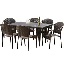 Zumba 7 Piece Wicker Outdoor Dining Set