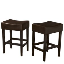 "<strong>Home Loft Concept</strong> Bonded Lopez 26.71"" Bar Stool with Cushion (Set of 2)"