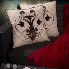 "Anna 18"" Black Embroidered Pillows (Set of 2) (Set of 2)"