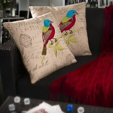 "Heavens 18"" Embroidered Bird Pillows (Set of 2) (Set of 2)"