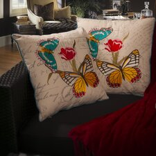 "Charlotte 18"" Embroidered Butterfly Pillows (Set of 2) (Set of 2)"