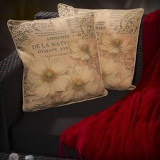 "Lacy 18"" Flower Script Pillows (Set of 2) (Set of 2)"