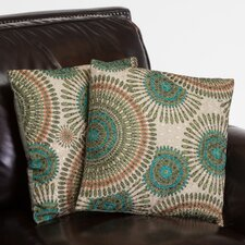 "Sarah 16"" Floral Circles Pillows (Set of 2) (Set of 2)"