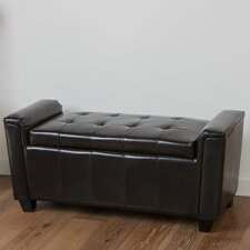 Kate Tufted Leather Storage Ottoman