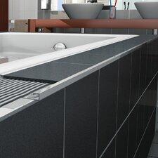"Cubeline 96"" x 1"" Counter Rail Tile Trim in Aluminum Satin Silver Anodized"