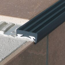 "<strong>Blanke</strong> 0.375"" HD Anodized Aluminum Anti-Skid Step Strip in Satin Silver with Brown Insert"