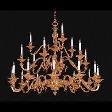 European Classic 21 Light Chandelier in Olde Brass