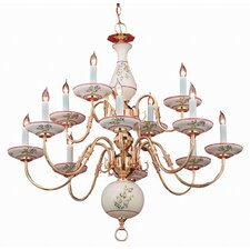Classic Ceramic Twelve Light Chandelier in Polished Brass