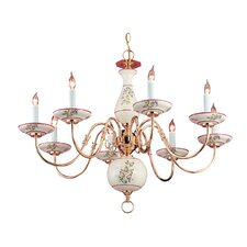 Classic Ceramic Eight Light Chandelier in Polished Brass