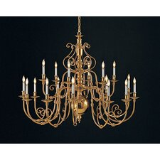 Williamsburg Eighteen Light Medium Chandelier in Polished Brass