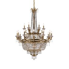 Traditional Classic 27 Light Crystal Candle Chandelier in Aged Brass