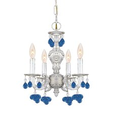 Sutton 4 Light Wrought Iron Chandelier Draped with Crystal Drops
