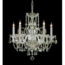 Traditional Crystal 5 Light Glass Chandelier