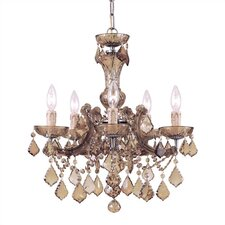 Bohemian Crystal 5 Light Candle Chandelier