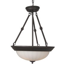 <strong>Jeremiah</strong> Frosted Melon Step Pan 3 Light Inverted Pendant