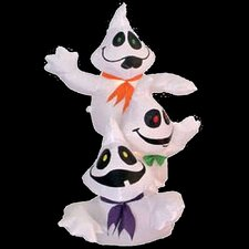 Inflatable 3 Stacked Lighted Happy Ghosts Halloween Decoration