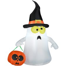 Outdoor Ghost with Witch Hat Halloween Decoration