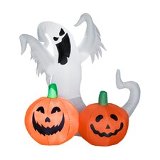 Airblown Ghost and Small Pumpkins Scene Halloween Decoration