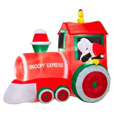 Airblown Train with Snoopy and Woodstock Scene Christmas Decoration