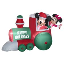 Airblown Train with Mickey and Minnie Scene Christmas Decoration