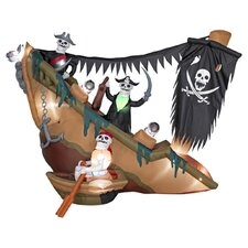 Airblown Skeleton Pirates Shipwreck Halloween Decoration