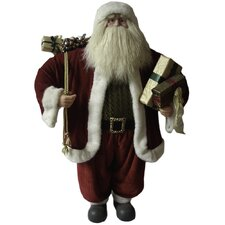 Traditional Standing Santa Holding Presents and Gift Bag