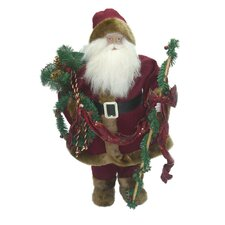 Traditional Standing Santa Holding Staff and Garland