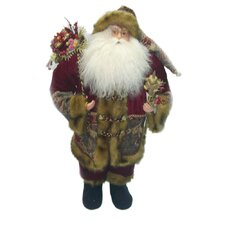 Standing Santa Holding Staff and Gift Bag