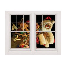 Single Santa Claus with Toy Sack Window Poster