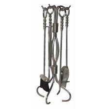 4 Piece Wrought Iron Fireplace Tool Set