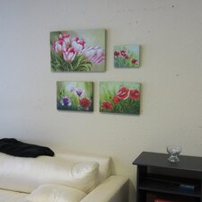 Summer Bloom Stretched 4 Piece Painting Print on Canvas Set in Pink and Green