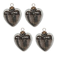 Mercury Glass Heart Ornament Set (Set of 4)