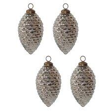 Mercury Glass Pinecone Ornaments (Set of 4)