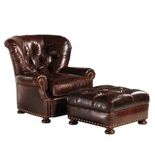 Elle Leather Chair and Ottoman