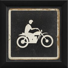 Sign Dirt Biking Framed Graphic Art in Black and White